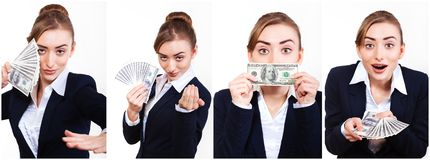 Set Woman holding money. Stock Images