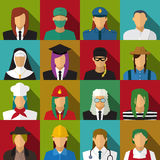 Set of 16 woman job icons in flat with long shadow. Vector Royalty Free Stock Images