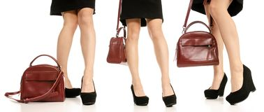 Set woman legs feet black dress shoes red purse bag royalty free stock photo