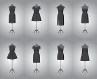 Set of woman little black dresses. Vector Stock Image