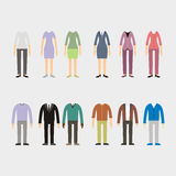 Set of woman and man clothes icons,  Royalty Free Stock Images