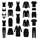 Set of woman and man clothes icons, illustration Stock Photo
