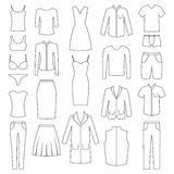 Set of woman and man clothes icons, illustration Stock Image