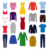Set of woman and man clothes icons,  illustration Stock Photography