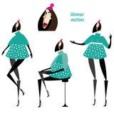 Set of woman motions Royalty Free Stock Image