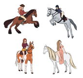 Set of woman riding a horse in various poses. Colorful illustration. Stock Photos