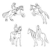 Set of woman riding a horse in various poses. Contour illustration. Stock Image