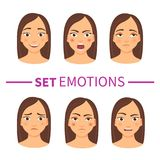 Set of emotions. Set of woman`s emotions. Facial expression. Girl Avatar royalty free illustration