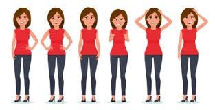 Set of woman`s emotions. Facial expression. Girl Avatar. Vector cartoon illustration of a flat design vector illustration