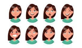 Set of woman's emotions. Facial expression. Girl Avatar. Vector. Illustration of a flat design Stock Photo