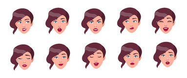 Set of woman`s emotions. Girl face with different facial expression collection. Colorful vector illustration in flat Stock Photography