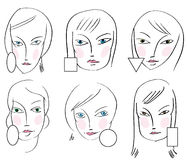 Set of woman's faces types Stock Photography