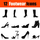 Set of woman's  footwear icons Royalty Free Stock Photos