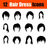Set of woman's hairstyles icons Royalty Free Stock Photos