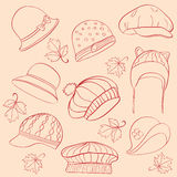 Set woman's hats Royalty Free Stock Photography