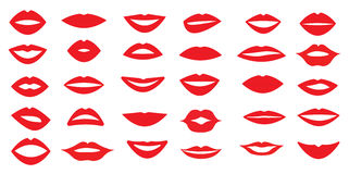 Set of woman`s lips. Different form of the lips. Different emotions. Vector illustration. 30 pieces. Royalty Free Stock Photo