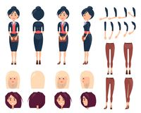 Set of Woman s Portraits and Dresses Color Banner. Vector illustration with brunette in black suit with brown shoes, female legs with pretty trousers Royalty Free Stock Images