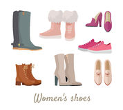 Set of Woman s Shoes Vectors in Flat Design Royalty Free Stock Photography