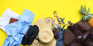 Set of Woman`s Things Accessories to Beach Season Royalty Free Stock Photos