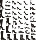 Set of a woman shoes. Silhouettes Stock Photos