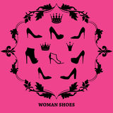 Set of woman shoes silhouettes with crowns in floral vintage frame. Black female fashion icons  on pink purple background. Vector illustration Stock Photography