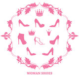 Set of woman shoes silhouettes with crowns in vintage frame. Set of woman shoes silhouettes with crowns in floral vintage frame. Female fashion icons  on white Stock Image