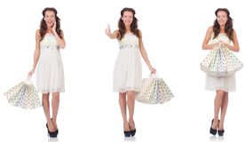 The set of woman with shopping bags on white Royalty Free Stock Photos