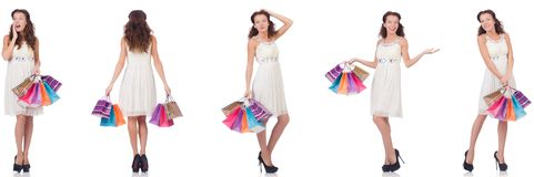 The set of woman with shopping bags on white Royalty Free Stock Photography