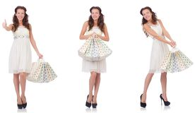 The set of woman with shopping bags on white Stock Images