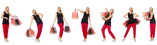 The set of woman with shopping bags on white Stock Photos