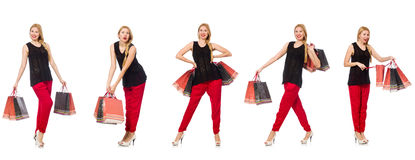 The set of woman with shopping bags on white Stock Photo