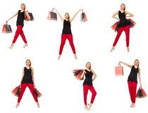 Set of woman with shopping bags on white Royalty Free Stock Images