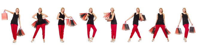 The set of woman with shopping bags on white Royalty Free Stock Photo