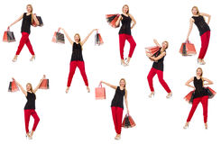 Set of woman with shopping bags on white Stock Photo