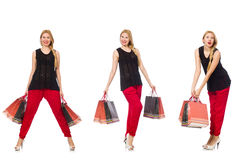 The set of woman with shopping bags on white Stock Photography
