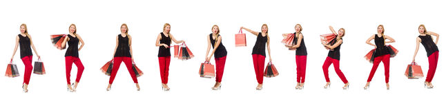 The set of woman with shopping bags on white Royalty Free Stock Image