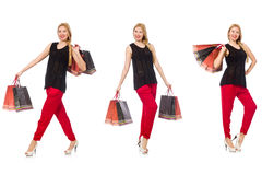 The set of woman with shopping bags Royalty Free Stock Photos