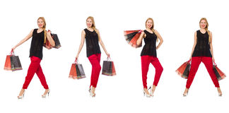 The set of woman with shopping bags on white Royalty Free Stock Images