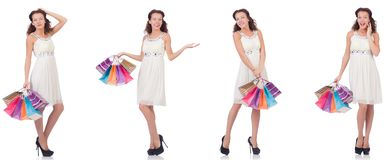 The set of woman with shopping bags on white Stock Image