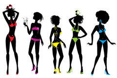 Set of Woman silhouettes in different colors bikin Royalty Free Stock Photo