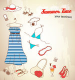 Set of woman summer icons Royalty Free Stock Image