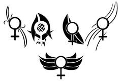 Set of Woman symbols tattoo Royalty Free Stock Image