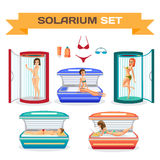 Set of woman tanning in solarium. Essential accessories. Royalty Free Stock Photos