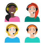Set of woman telemarketer, call center operator, hot line. Set of young smiling mixed race woman telemarketer in flat style, Set of call-center operators of Stock Photography