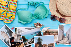Set of woman things for resort. Marine concept of summer vacation Stock Photos
