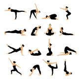 Set of woman in various yoga poses stretching. Vector illustration Stock Photography