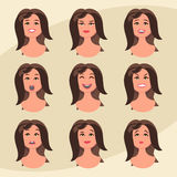 Set of womans emotions. Facial expression. Girl Avatar. Vector illustration in flat design style.  Stock Photography