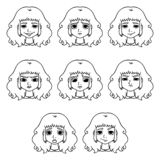 Set of womans emotions. Facial expression vector illustration