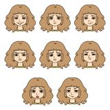 Set of womans emotions. Facial expression. royalty free illustration