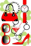 Set of women accessories. Set of women, accessories in red and black Royalty Free Stock Images